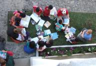 Deb and others Reading outside